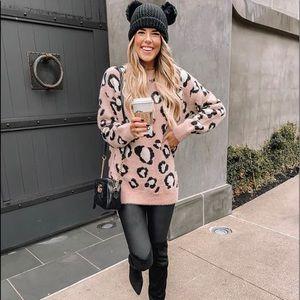 Fuzzy Leopard Print Sweater